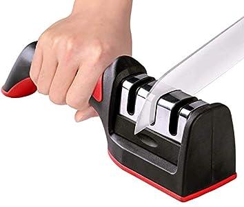 Afilador de Cuchillos - Afilador de Cuchillos Manual - 3 En 1 Afilador de Cocina Manual - Afilador de Cuchillos Profesional con Mango Ergonómico y Base Antideslizante - Knife Sharpener para Cuchillos
