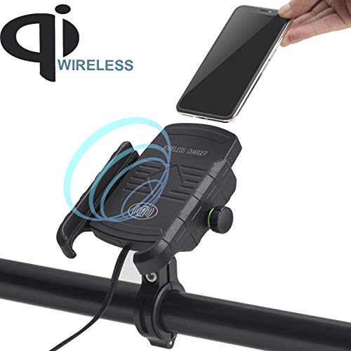 iMESTOU Motorcycle Phone Mount Wireless Charger, Waterproof Motorbike Handlebar Phone Holder 360...