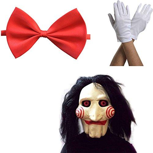 thematys Jigsaw Saw Maske mit Kunsthaaren + Fliege + Handschuhe - perfekt für Fasching, Karneval & Halloween - Kostüm für Erwachsene - Damen Herren
