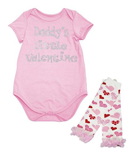 Petitebelle Papa's kleine Valentine licht roze Jumpsuit Baby Romper been Warmer Set Nb-18m