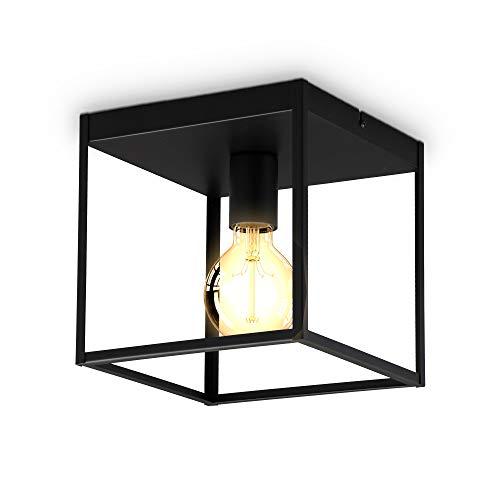 B.K.Licht I 1-flammige Käfig-Deckenleuchte I E27 Fassung I Metall I Schwarz- Matt I Cage I Deckenlampe
