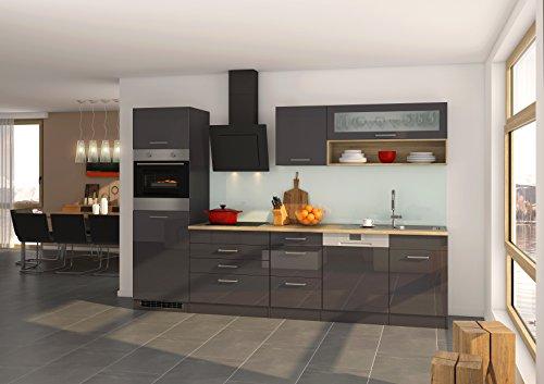 Held Möbel 576.1.6211 Mailand Küche, Holzwerkstoff, hochglanz grau, 60 x 300 x 200 cm