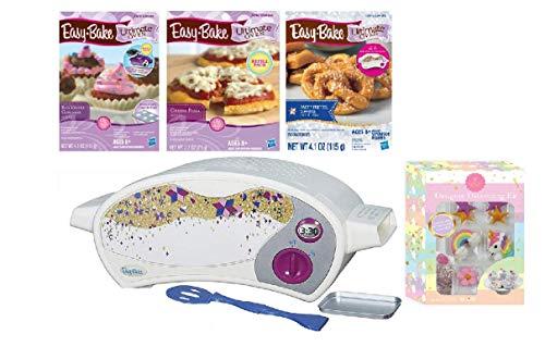 Intelli Trade Easy Bake Oven Easy Bake Ultimate Oven Baking Bundle Baking Star Edition + Designer Decorating Kit + Easy Bake 3-Pack Refill Mixes (Pizza, Pretzel and Red Velvet Cupcakes)