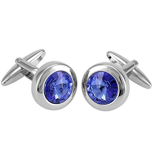 LINDENMANN Manschettenknöpfe, silberfarben/Kristall blau, im Etui, 10575