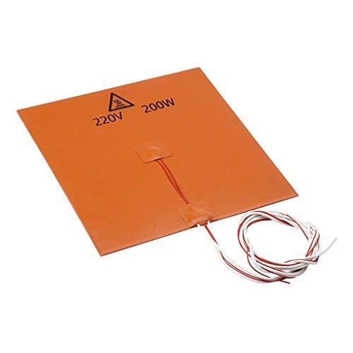 perfk 220 V 200 Watt 200mm x 200mm Silikon Heizmatte Hitzebett Druckplatte Silikon Heat Bed 3D Drucker Teile