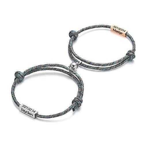 Pulseras magnéticas para parejas Pulsera de identificación con nombre personalizado Cuerda de atracción mutua Pulseras trenzadas Conjunto de regalo para mujeres Hombres Novio Novia Él Sus pulseras