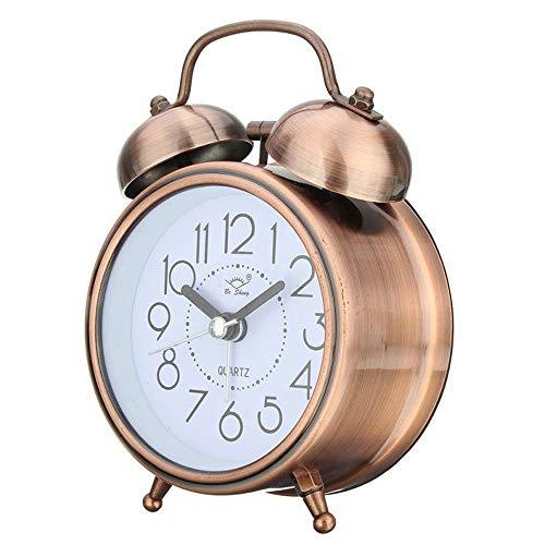 SYWAN Reloj Despertador de Doble Campanas con luz Nocturna, Gran Esfera de 3 Pulgadas, Vintage Despertadores de Mesita Relojes, Sin Tictac, Silencioso, Timbre de Alarma Retro (Bronce)