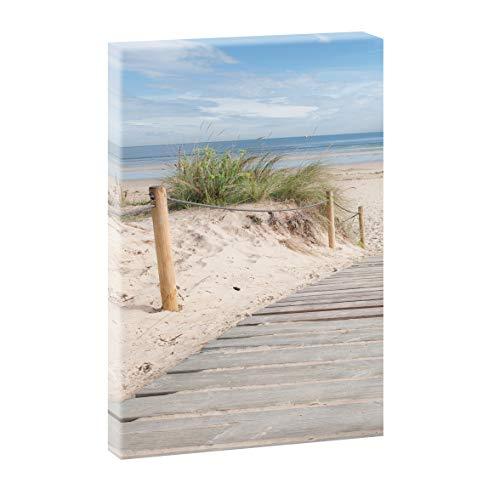 Querfarben Bild auf Leinwand mit Landschaftsmotiv Holzsteg zum Meer | 100 x 65 cm, Farbig, Wandbild, Leinwandbild mit Kunstdruck, Nordseebild mit Strandmotiv auf Holzrahmen gespannt