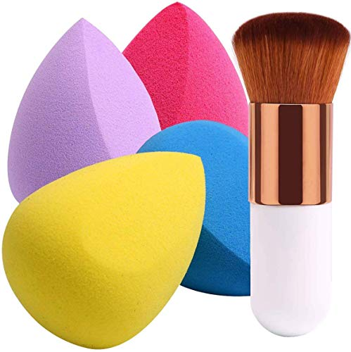 BEAKEY 4+1 Set Esponja Maquillaje Brochas, Perfecto