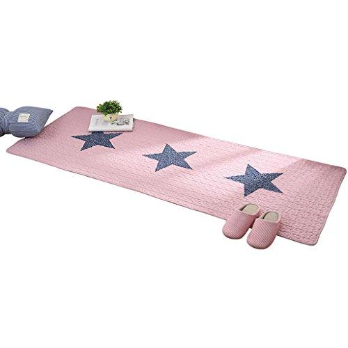 Tapis de lit en tissu de coton Tapis de lit Tapis de pied Tapis de sol Tapis antidérapant Coussin pour la chambre Lavable en machine Tissu en coton pour bébé (Color : PINK, Size : 70 * 150CM)