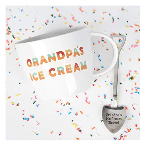 Josephine on Caffeine Gifts for Grandpa – Grandpa's Ice Cream Bowl and Engraved Spoon Grandpa's Ice Cream Shovel – Ideal or Birthday Gift