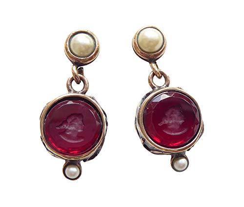 Perlen-Ohrstecker Gemmen-Ohrringe Süßwasserperlen rote Glasgemme rund Bronze Handarbeit Designer klassisch elegant schön EXTASIA