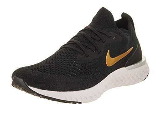 Nike Damen Laufschuh Epic React Flyknit, Scarpe Running Donna, Nero (Black/Metallic Gold-Mtlc Plata 013), 40.5 EU