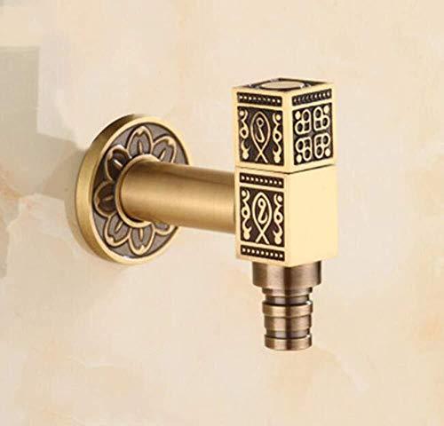 Xihouxian Goldene Waschmaschine Wasserhahn/Alle Kupfer Single Cold + Vergoldete Oberfläche/Geeignet für Balkon Badezimmer/Einfache und stilvolle Design, einfach zu bedienen E20