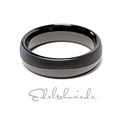edler Keramik Ring teilweise matt halbrund schwarz 6 mm #62