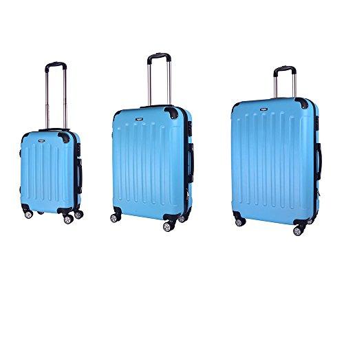 Sunydeal - Set di Valigie 52cm / 62cm / 71cm -ABS ultra leggero - 4 Ruote -azzurro - Garanzia 1 an