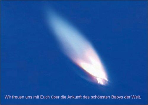In 5-delige set: blauwe wenskaart voor de geboorte met vlam: wij zijn blij met jullie over de aankomst van de mooiste baby ter wereld.