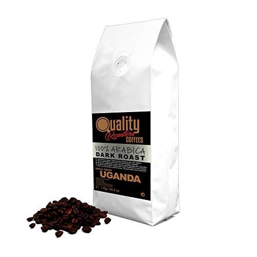 Café en grano natural. Dark Roast. 100% Arabica. Origen único Uganda, 1kg. Tostado artesanal. Tueste Oscuro.