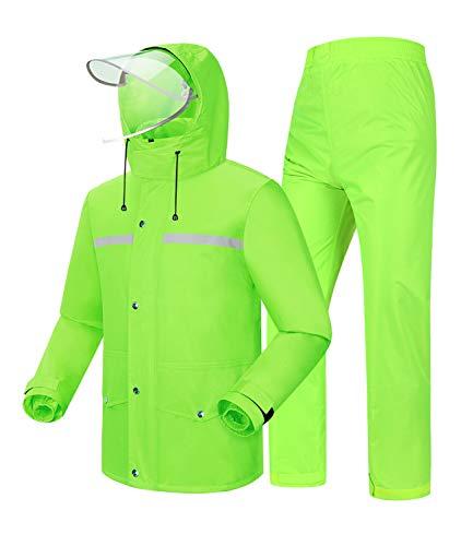Coutyuyi Giacca Impermeabile Uomo/Donna Giacca e Pantaloni da Pioggia Windbreak Impermeabile con Cappello (XXL, Verde)