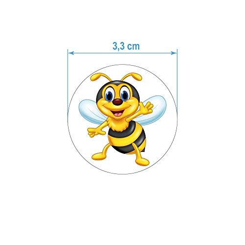 kleberio 36 Aufkleber lustige Honig Biene 3,3 cm rund Sticker selbstklebend Autoaufkleber Dekoration Bild Wohnmobile Auto Motorradhelm Caravan Wohnwagen Moped Roller Motorrad Kita Kindergarten