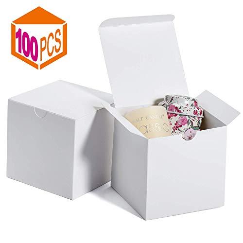 HOUSE DAY Cajas de regalo 4x4x4 pulgadas, Cajas de regalo de papel Kraft con tapas para regalos, Elaboración, Magdalena, Cajas de cartón, (100)