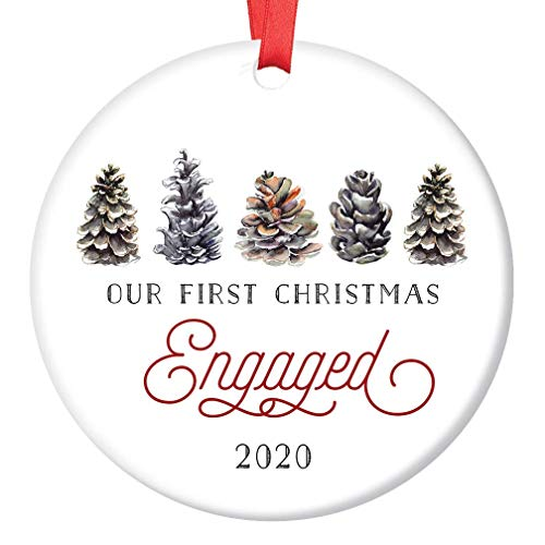 First Christmas Engaged Ornament 2020 Pretty Winter Pine Cone Engagement Party Gift Engaged Couple Fiance Fiancee 1st Holiday Future Mr & Mrs 3' Flat Porcelain with Red Ribbon & Free Gift Box OR00331