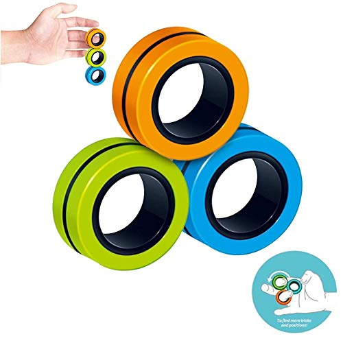 jaspenybow Magnet Toys, Fidget Spinner, Stress Relief Magnetic Ring Finger Spinning in the Air, Colorful Magnetic Rings Fidget Toy, Anti-stress Fidget for Games, Kid, Adult - Random Color
