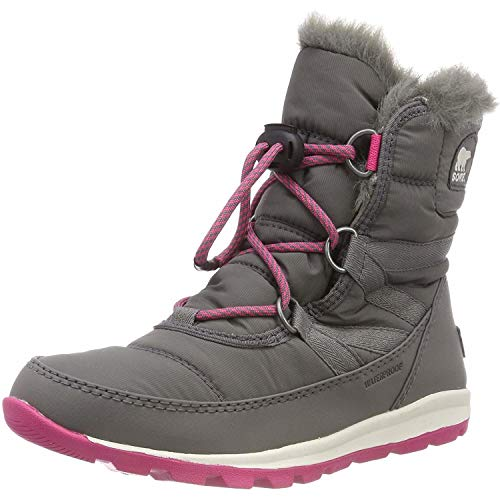 Sorel Girls' Youth Whitney Short Lace Snow Boot, quarry, ultra pink, 6 M US Big Kid