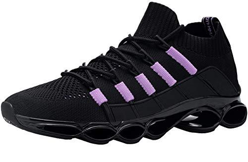DYKHMILY Zapatillas de Seguridad Mujer Ligeras Transpirable Punta de Acero Calzado de Trabajo Trabajo Calzado de Seguridad Colchón (Morado Negro,38 EU)