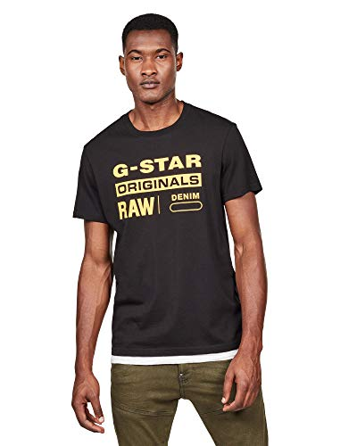 wholesale special for shoe for whole family G-STAR RAW Graphic 8 Round Neck Camiseta, Negro (dk Black 6484), L para  Hombre