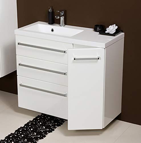 Quentis Badmöbel Genua, Breite 90 cm, weiß, Unterschrank mit 3 Schubladen und 1 Türe, Waschbeckenunterschrank montiert
