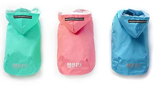 BPS® Chubasqueros Impermeables para Mascotas Perros, Impermeables con Capucha para Perro Pequeño Mediano y Grande con Material 100% Poliéster (Verde Claro, 30cm) BPS-9467VE