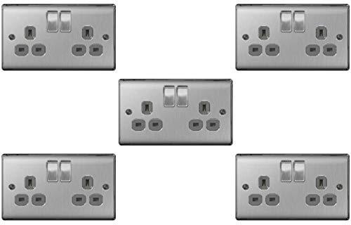 BG Electrical nbs22g/5 5 x Twin 13 A uttagsuttag – borstat stål