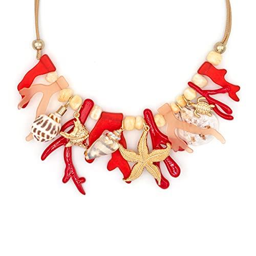 Colours & Beauty Collar de mujer con conchas de coral y estrella de mar   Gargantilla de mujer con flecos   Collar de verano con conchas   Collar de coral rojo   Collar de playa Corales y conchas