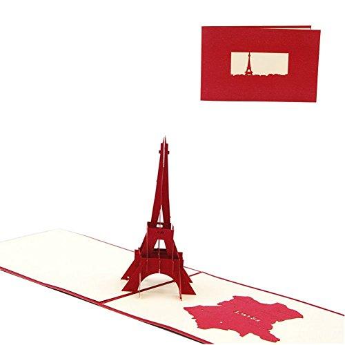Naisicatar Paris Pop-Up-Grußkarte zum Muttertag, Vatertag, Geburtstag, handgefertigt, Kirigami, für Hochzeit oder andere Gelegenheiten, mit Umschlag, Laser Cut-