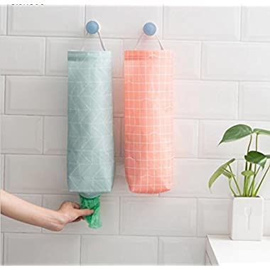 Ygoing 2 Pcs Plastic Bag Holder Dispenser Waterproof Hanging Grocery Bag Organizer with 2 Adhesive Wall Hooks for Kitchen, Bathroom