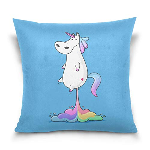 lucies Throw Pillow Case Decorative Cushion Cover Square Pillowcase, Hipst-er Unicorn Farting Rainbow Sofa Bed Pillow Case Cover(18x18inch) Twin Sides