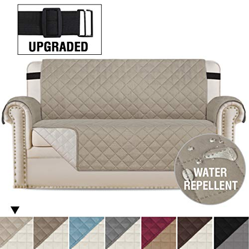 """Loveseat Covers Loveseat Slipcover Reversible Quilted Furniture Protector with Elastic Straps Slip Resistant Furniture Cover for Dogs Seat Width Up to 54"""" (Oversized Loveseat, Khaki/Beige)"""