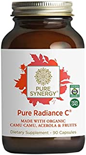 Pure Synergy Pure Radiance C - 90 VCaps - 100% Natural Vitamin C Made With Organic Camu Camu, Acerola, and Fruits