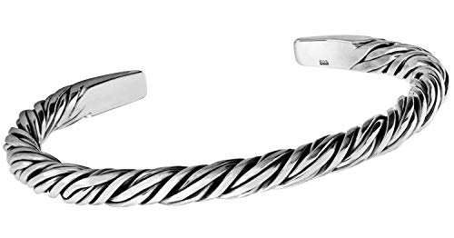 TreasureBay Iconic Herren-Armreif aus 925er Sterlingsilber, schweres Silberarmband für Herren, gedrehtes Design