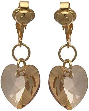 Valentine Gold Plated Gold Shadow Heart Clip On Earrings
