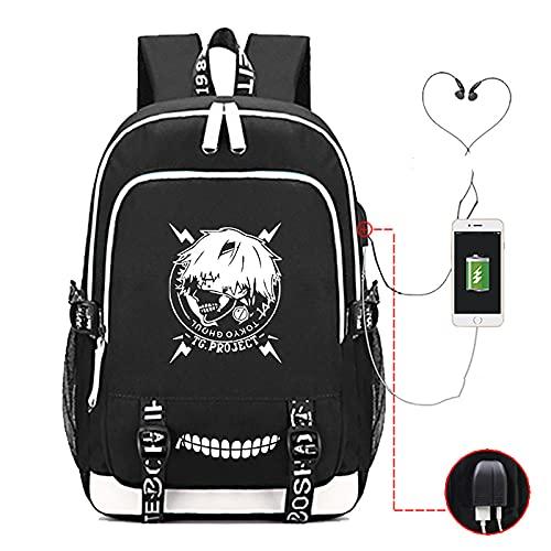 EDMKO Mochila Unisex del Ordenador, Tokyo Ghoul Impermeable Portátil Mochila Escolar Bolsa para Laptop Rucksack Anime para Cosplay Bolsa de Viaje Mochila,C