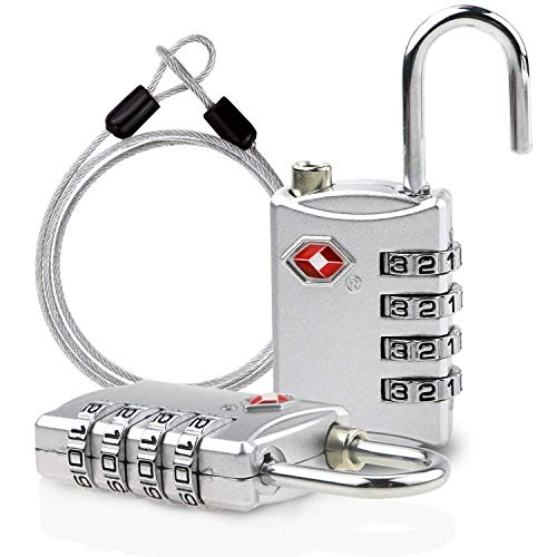 TSAロック 南京錠TSA鍵 ワイヤーロック 4桁ダイヤル式ロック 安心 防犯グッズ アメリカ安全運送局認定 旅行用 荷物スーツケース用 自転車鍵 ワイヤーロープ付き 2個セット シルバー