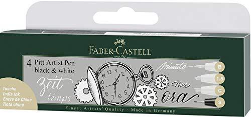 Faber-Castell FC167151 167151 - Set di 4 pennarelli Pitt Artist Pen Black and White, colore: Bianco