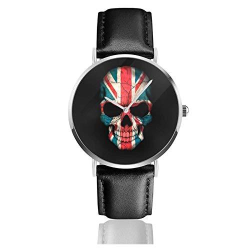 Reloj de calavera con bandera británica, movimiento de cuarzo, correa de reloj de cuero impermeable para hombres, mujeres, reloj inform