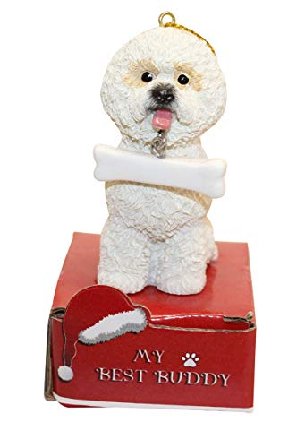 E&S Imports Dog Ornament - Cat Ornament - Easy to Personalize - Handcrafted and Hand Painted - Perfect Dog Gifts - Christmas Ornament (Bichon Frise)