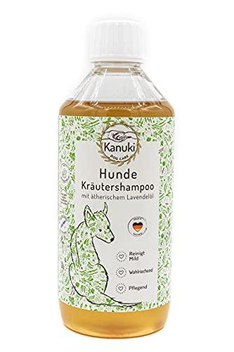 Kanuki pflegendes Hundeshampoo mit natürlichen Kräuterextrakten 500ml – mit ätherischem Lavendelöl, pH-Wert 7.5, schonende Reinigung für alle Felltypen – ohne Silikone, Parabene und Parfum