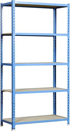Estantería metálica sin tornillos Maderclick de 5 estantes Azul/Madera Simonrack 2000x1000x500 mms - Estantería con aglomerado - Estantería para despensa - 150 Kgs de capacidad por estante