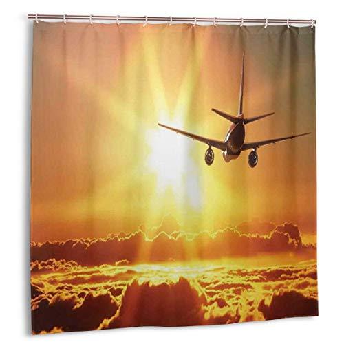 Dfform Duschvorhang,Flugzeug Flugzeug Widebody Jet Flying On Air Aufgehende Sonne Mit Fluffy Clouds Art,wasserdicht hochwertige Qualität Duschvorhänge inkl 12 Ringe