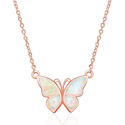 WINNICACA Butterfly Pendant Necklace Sterling Silver Simple Rose Gold Opal Choker Necklace Jewellery for Women Girlfriend Christmas Gifts
